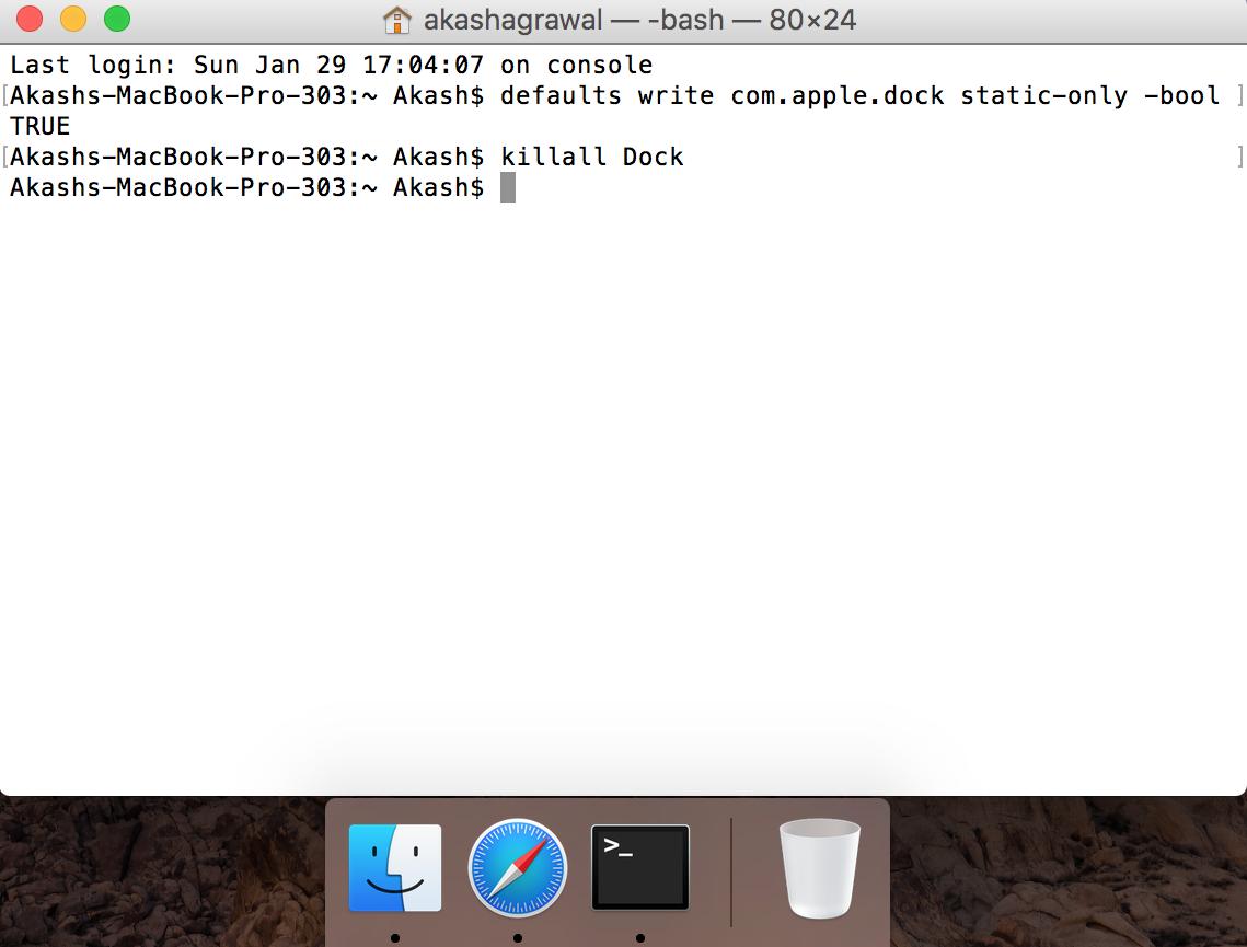 hide non-active dock apps