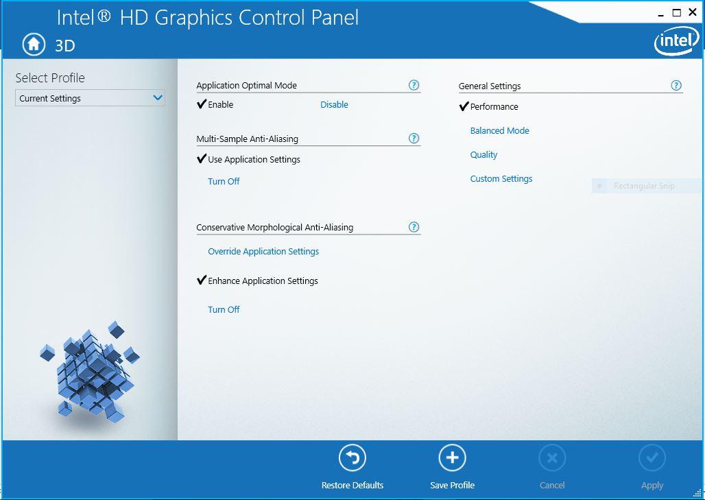 Intel HD's 3D panel