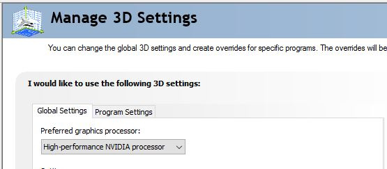 Global settings are accessed