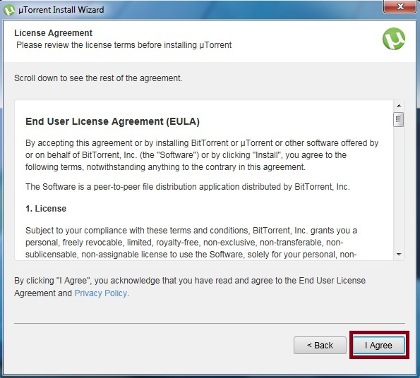 uTorrent License agreement