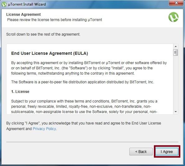 uTorrent License agreement