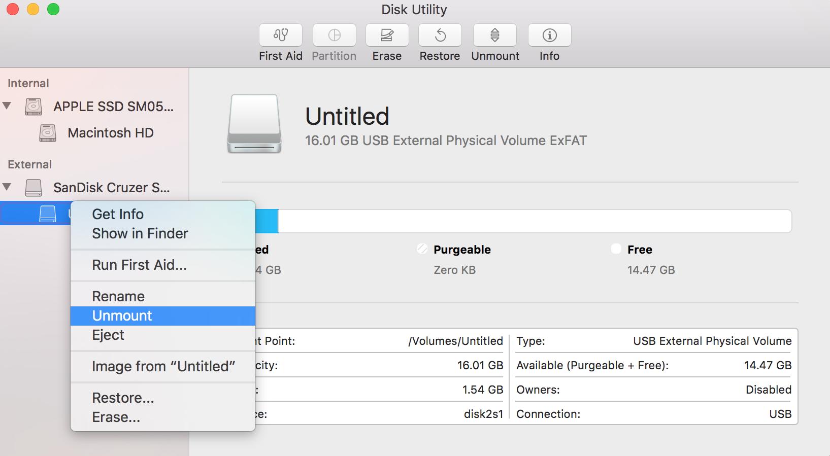 Disk Utility - Unmount