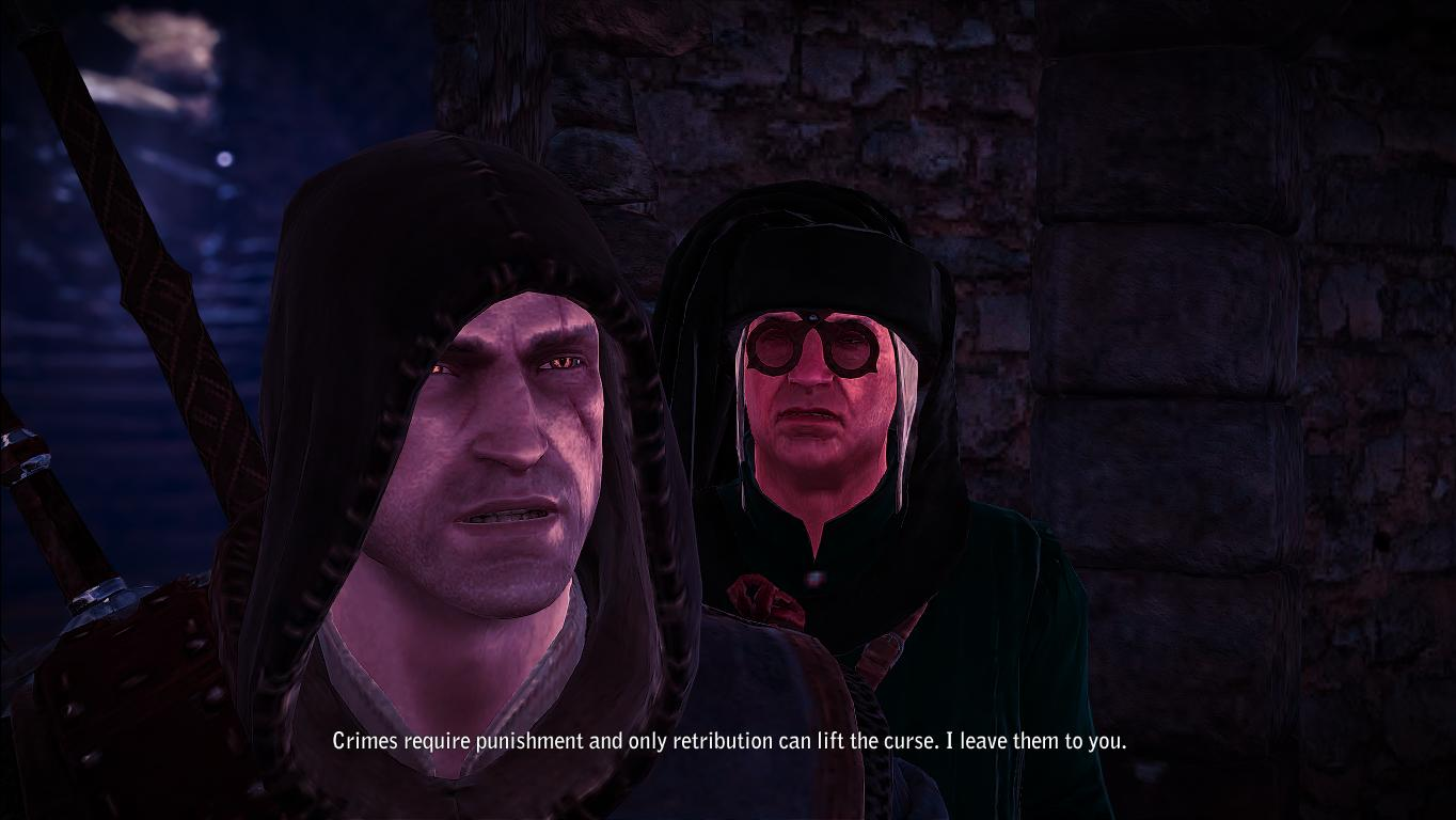 An intense dialogue exchange in Witcher 2