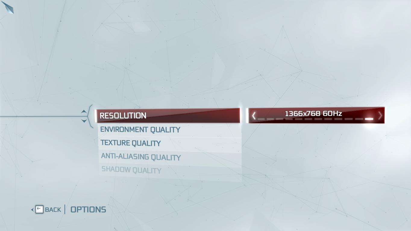 Assassin's Creed 3's option menu